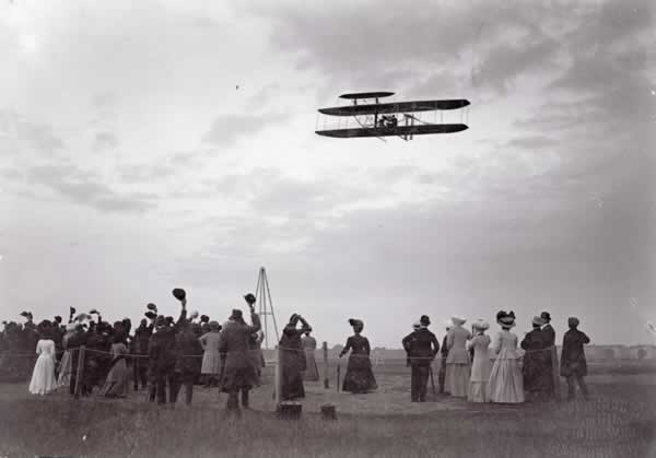 Orville Wright flying the Wright Model A Flyer - Tempelhof Field, Germany 1909